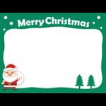 サンタクロースとモミの木のフレーム枠イラスト