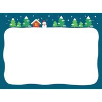 クリスマスのフレーム枠「雪が積もったモミの木」