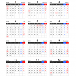 2018年エクセル年間カレンダー(月曜始まり)