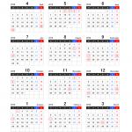 【4月始まり】2018年度エクセル年間カレンダー(月曜始まり)