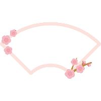梅の木を飾った扇型フレーム枠イラスト