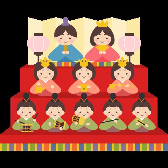 雛人形(三段飾り)のイラスト