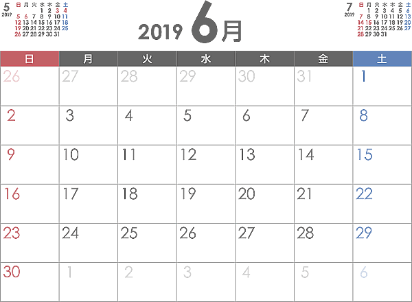 2019 年 六 曜 エクセル