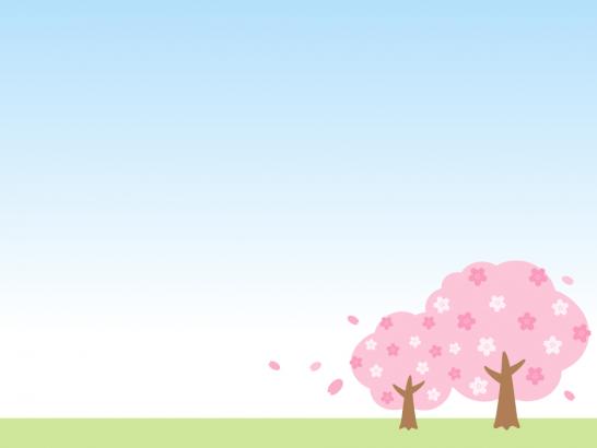 青空と桜の木の背景フレーム枠イラスト