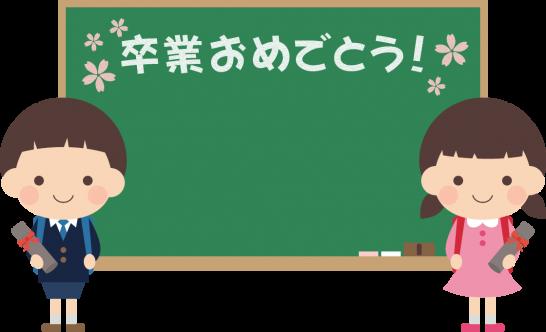 卒業式の黒板フレーム枠イラスト(小学校・小学生)