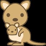 かわいいカンガルー(ワラビー)の動物イラスト