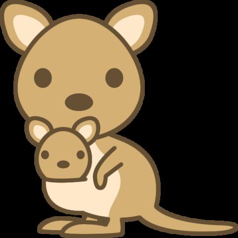 かわいいカンガルー(ワラビー)のイラスト
