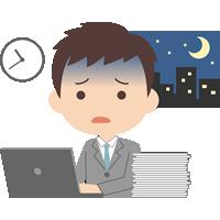残業をする会社員の男性(サラリーマン)のイラスト