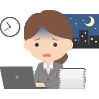 残業をするOL(女性会社員)のイラスト