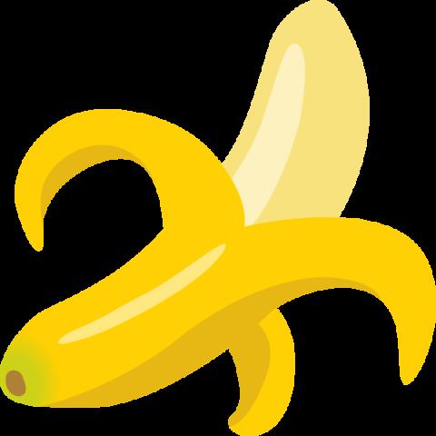 皮をむいたバナナのイラスト