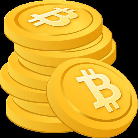 積み重ねたビットコインのイラスト