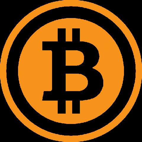 ビットコインのシルエットアイコン(オレンジ色)