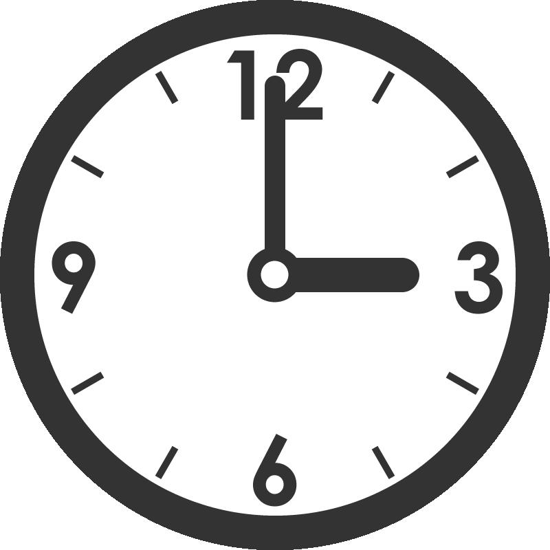 時計のイラスト(3時)