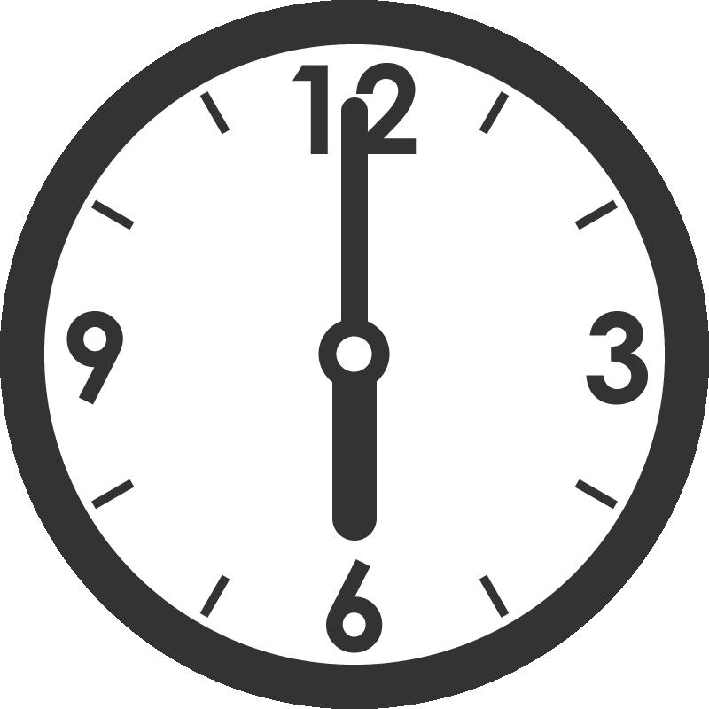時計のイラスト(6時)