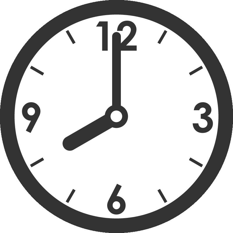 時計のイラスト(8時)