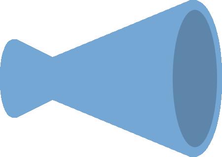 メガホンのイラスト(青色・立体)