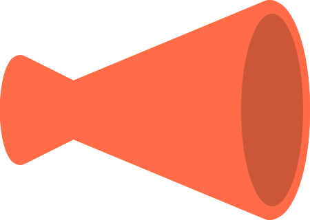 メガホンのイラスト(赤色・立体)