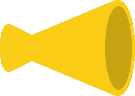 メガホンのイラスト(黄色・立体)