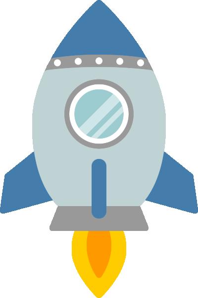 ロケットのイラスト(青色)