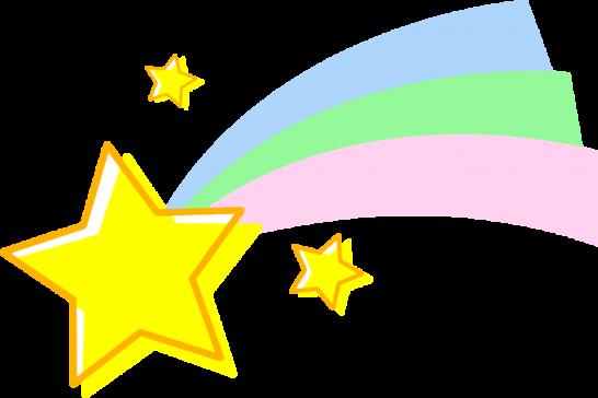 流れ星のイラスト(レインボー)