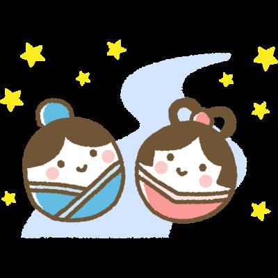 【七夕イラスト】かわいい織姫と彦星のイラスト