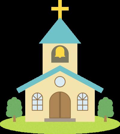 教会(チャペル)のイラスト<水色>