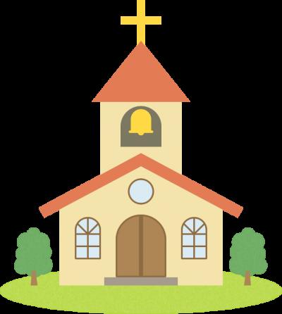 教会(チャペル)のイラスト<赤色>