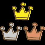 手書き風のかわいい王冠イラスト<金・銀・銅>