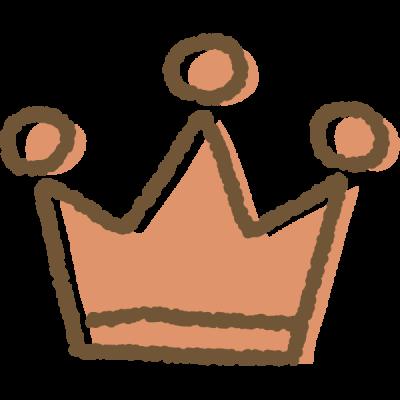 手書き風のかわいい王冠イラスト<銅>
