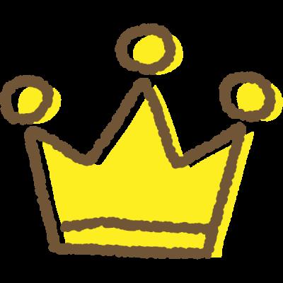 手書き風のかわいい王冠イラスト<金>