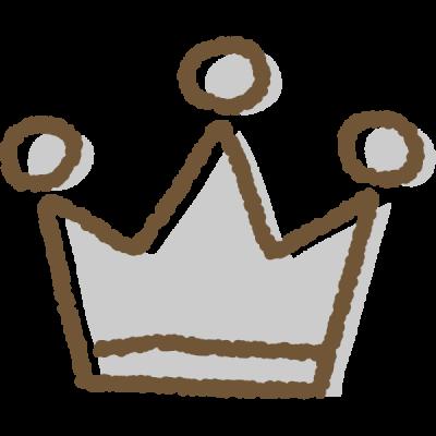 手書き風のかわいい王冠イラスト<銀>