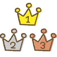手書き風のかわいい王冠イラスト<ランキング1位・2位・3位>