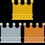 四角いフォルムの王冠イラスト<金・銀・銅>