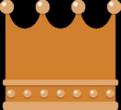 四角いフォルムの王冠イラスト<銅>