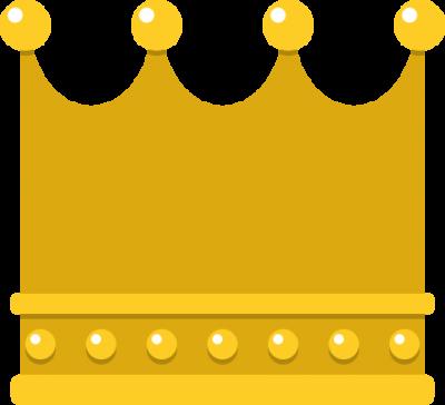 四角いフォルムの王冠イラスト<金>