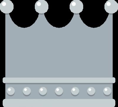 四角いフォルムの王冠イラスト<銀>