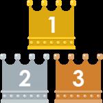 四角いフォルムの王冠イラスト<ランキング1位・2位・3位>