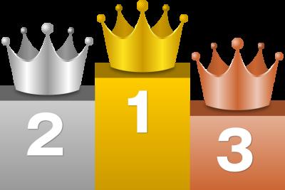 表彰台で輝く王冠イラスト