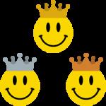 王冠をかぶったニコちゃんマーク<金・銀・銅>