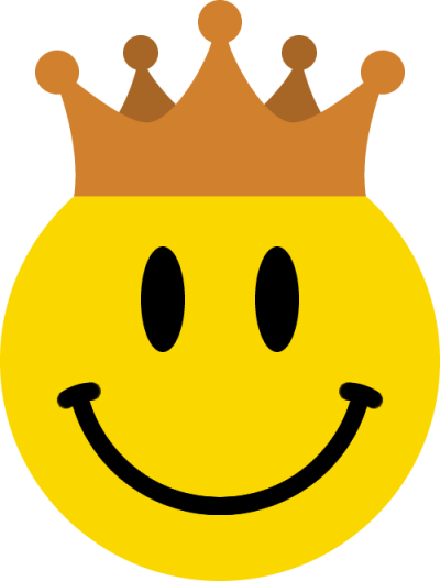 王冠をかぶったニコちゃんマーク<銅>