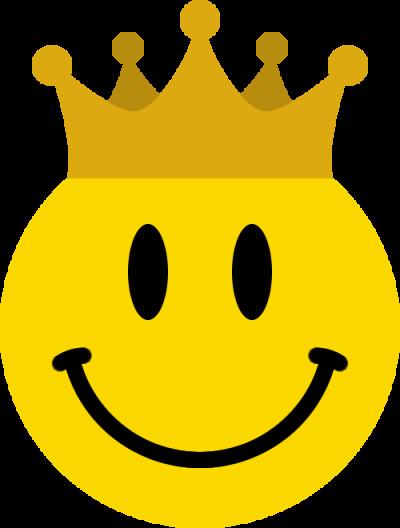 王冠をかぶったニコちゃんマーク<金>