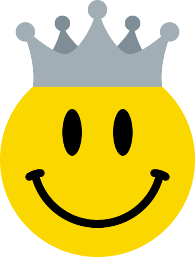 王冠をかぶったニコちゃんマーク<銀>