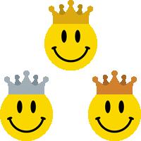 ニコちゃんマークの王冠イラスト<金・銀・銅>