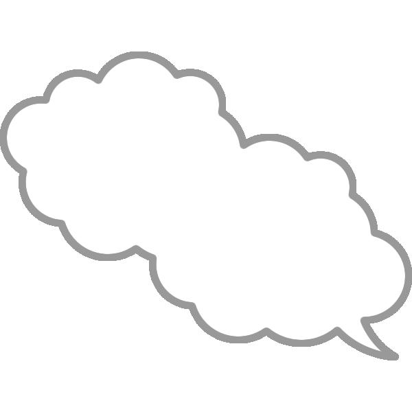 もこもこ雲が2個つながった吹き出し素材