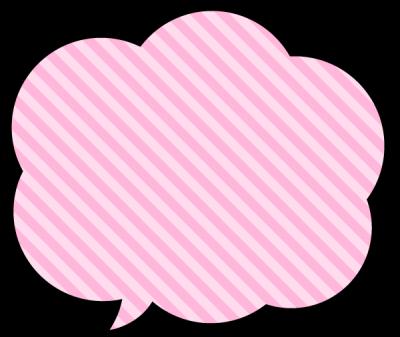 ポップな吹き出し素材<斜めストライブ柄:ピンク色>