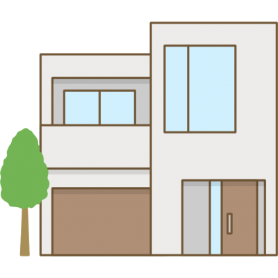 家のイラスト(コンクリート住宅)