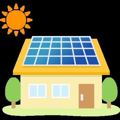 太陽光発電ソーラーパネルを設置した家のイラスト