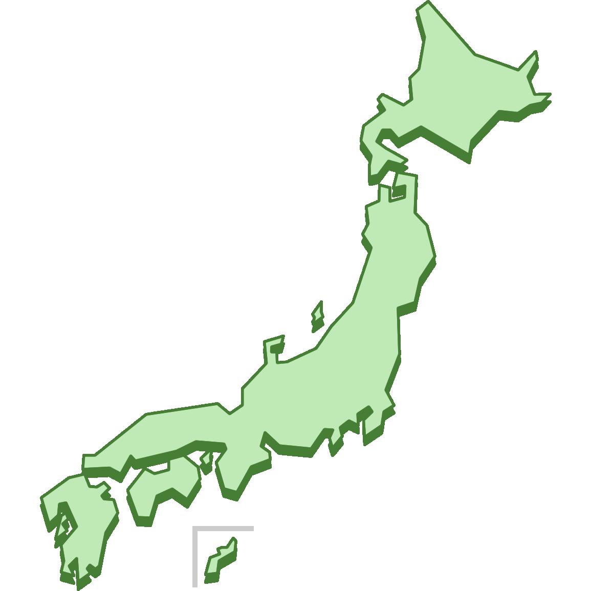 シンプルな日本地図のイラスト