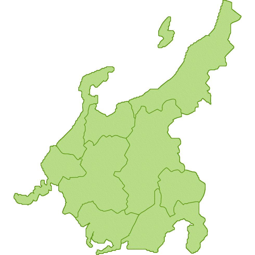 中部地方の地図のイラスト