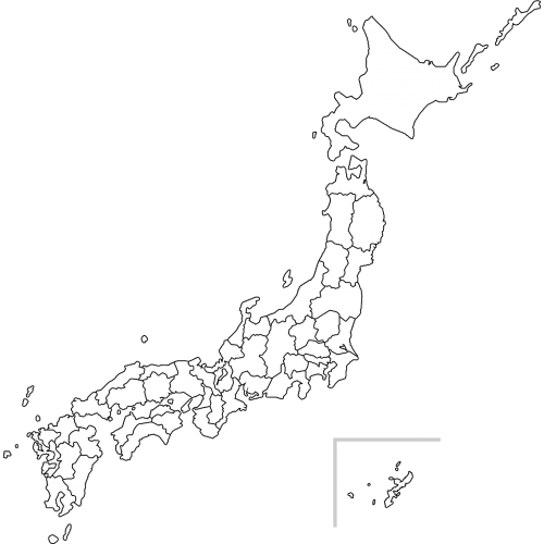 日本地図(白地図)